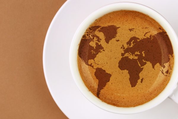 World map in coffee
